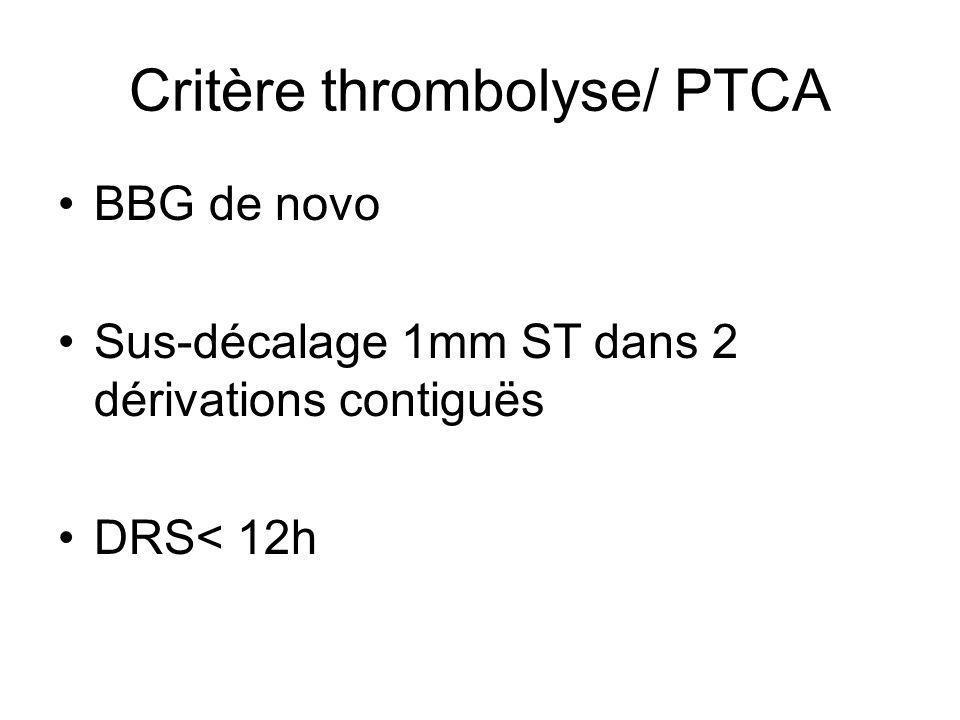 Critère thrombolyse/ PTCA