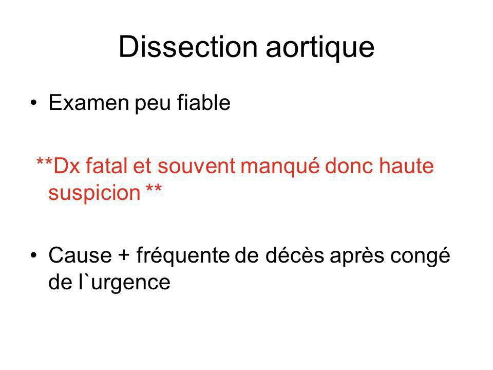 Dissection aortique Examen peu fiable