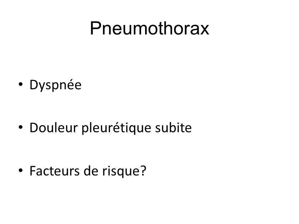 Pneumothorax Dyspnée Douleur pleurétique subite Facteurs de risque