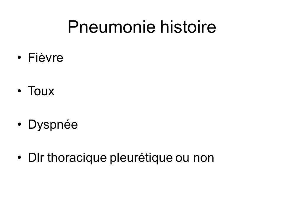 Pneumonie histoire Fièvre Toux Dyspnée