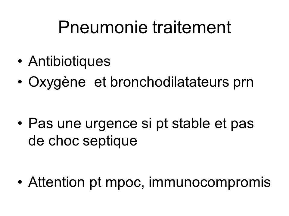 Pneumonie traitement Antibiotiques Oxygène et bronchodilatateurs prn