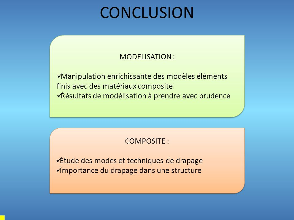 CONCLUSION MODELISATION :