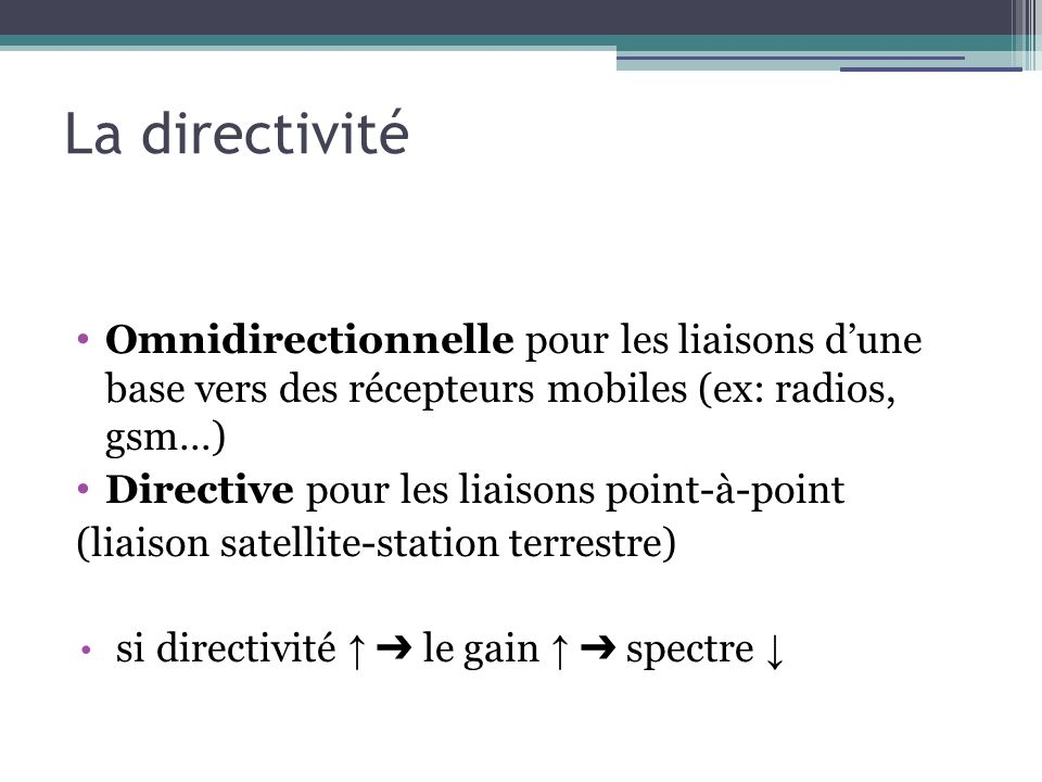 La directivité Omnidirectionnelle pour les liaisons d'une base vers des récepteurs mobiles (ex: radios, gsm…)