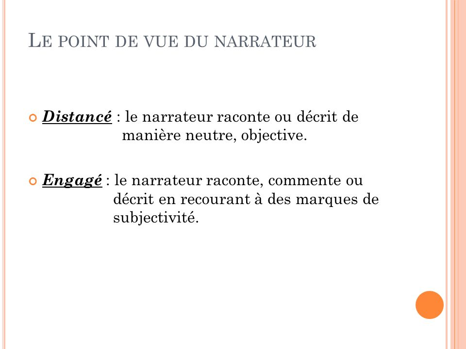 Le point de vue du narrateur