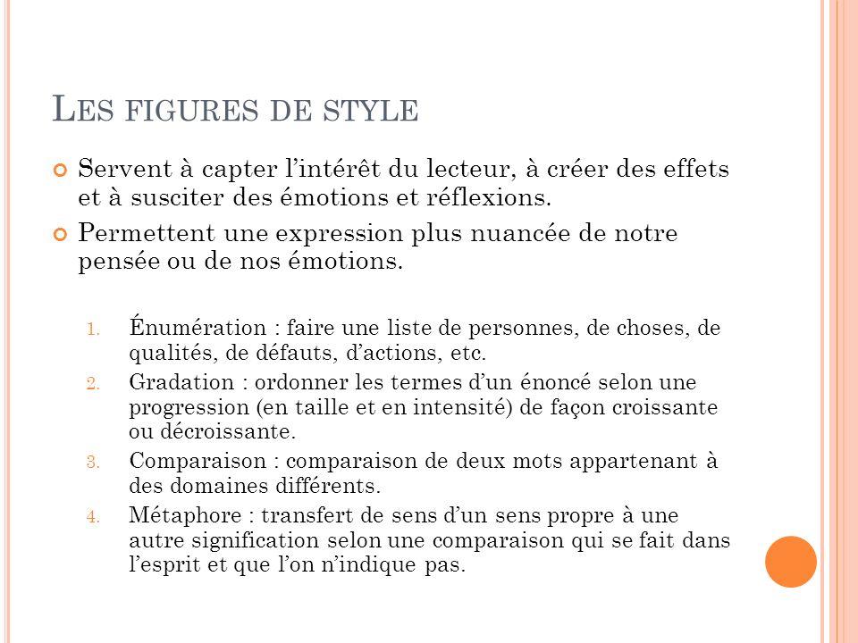 Les figures de style Servent à capter l'intérêt du lecteur, à créer des effets et à susciter des émotions et réflexions.