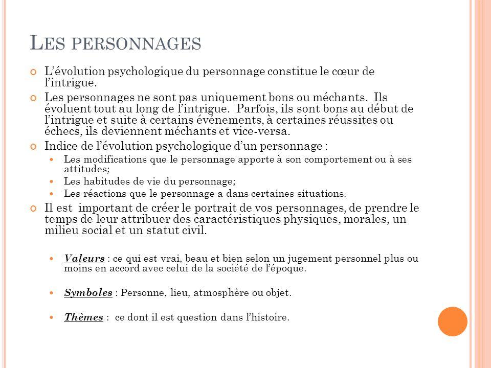 Les personnages L'évolution psychologique du personnage constitue le cœur de l'intrigue.