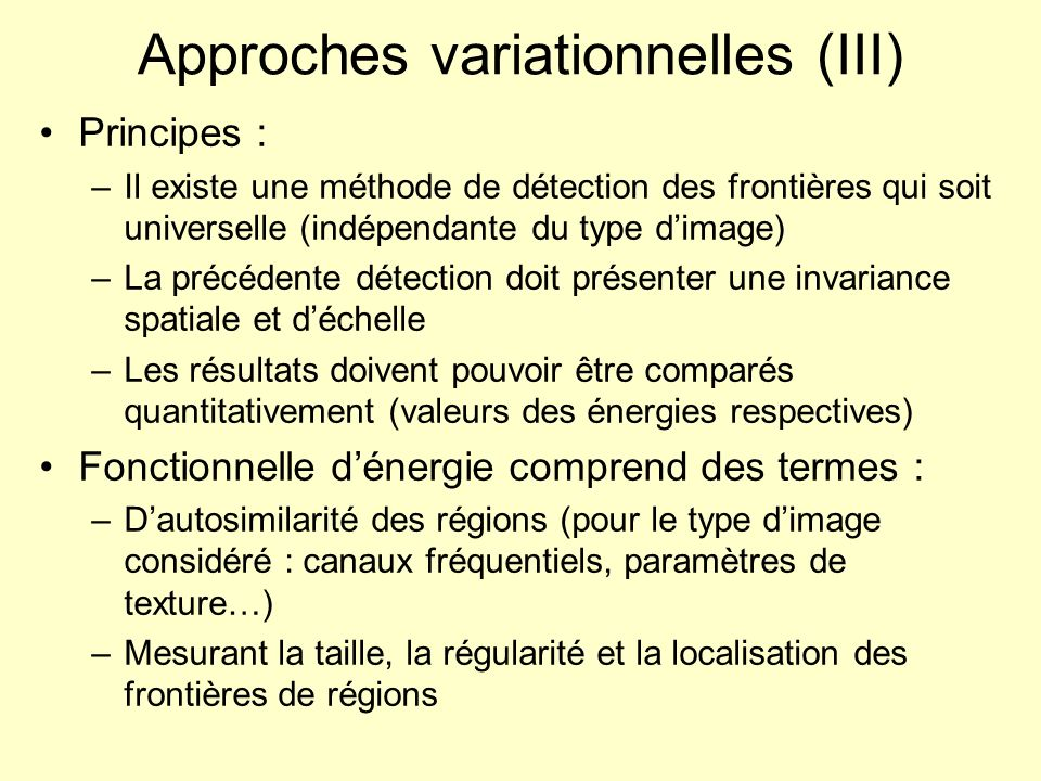 Approches variationnelles (III)