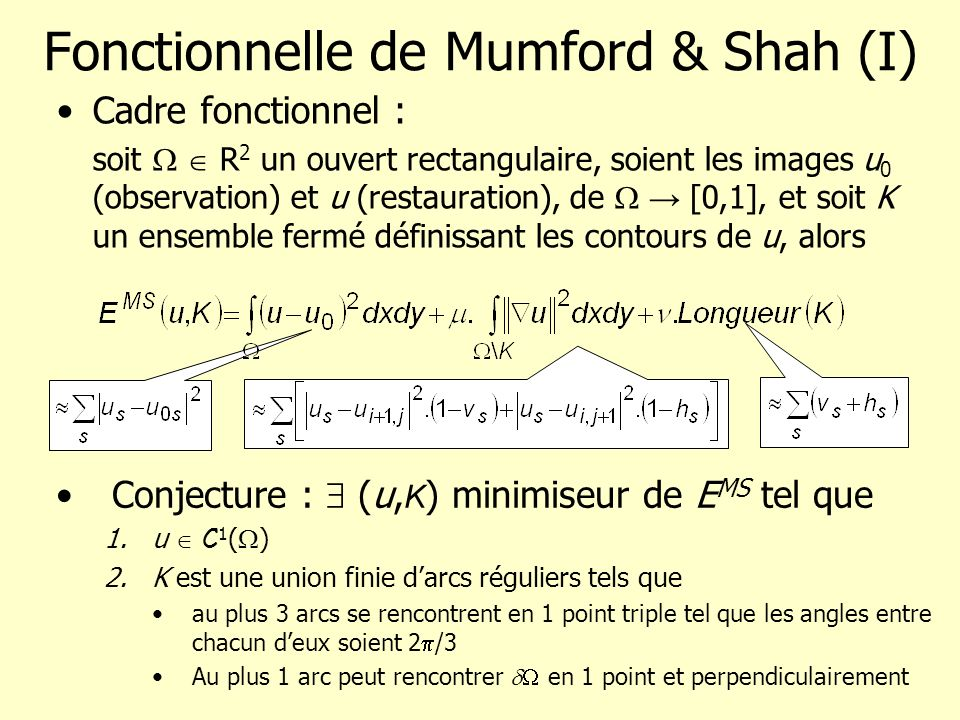 Fonctionnelle de Mumford & Shah (I)