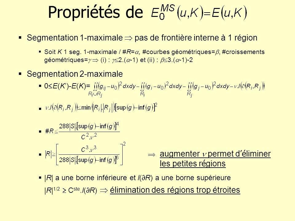 Propriétés de Segmentation 1-maximale  pas de frontière interne à 1 région.