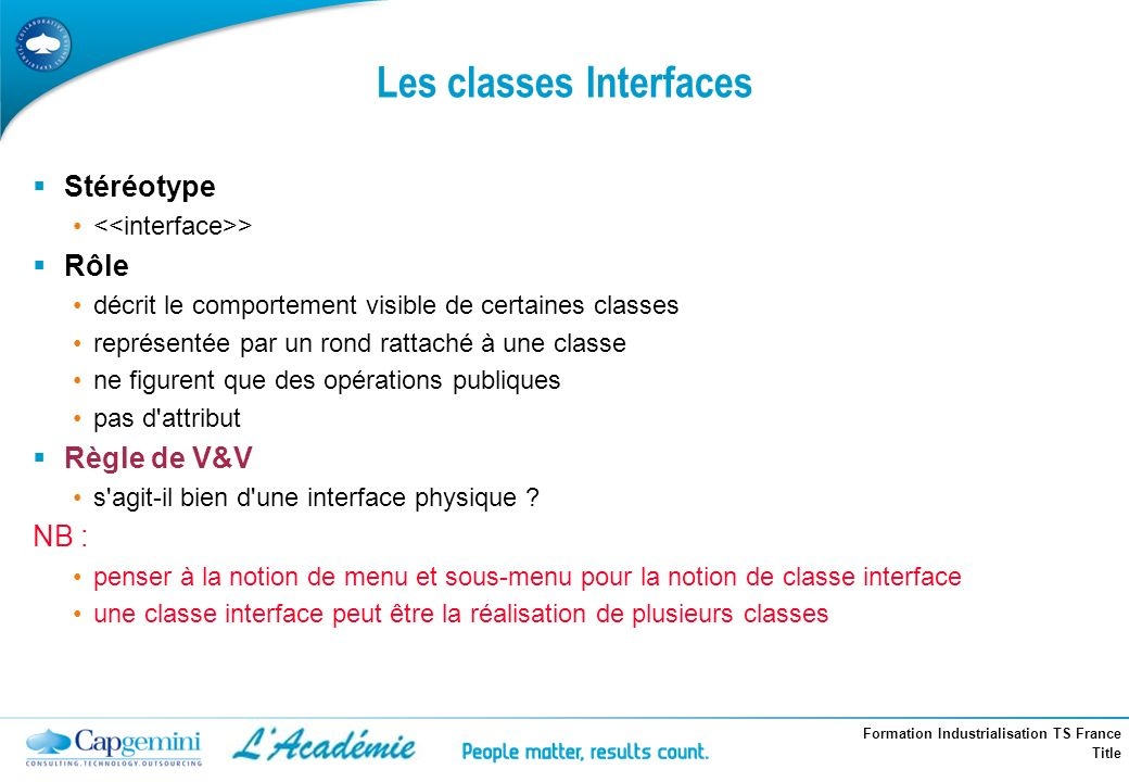 Les classes Interfaces