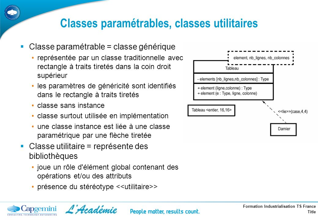 Classes paramétrables, classes utilitaires