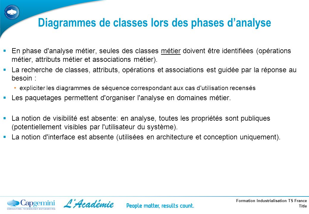 Diagrammes de classes lors des phases d'analyse