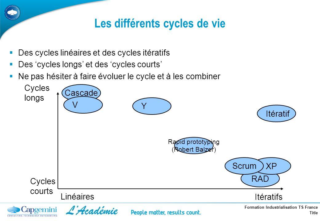 Les différents cycles de vie