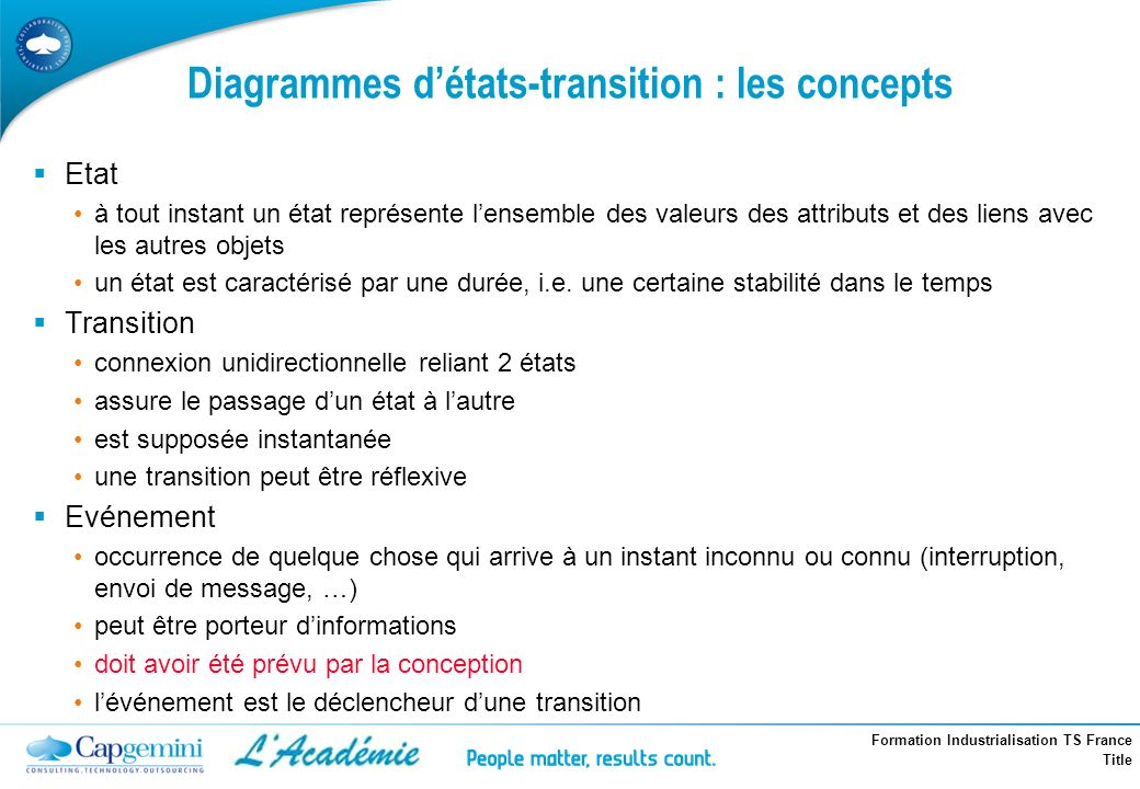 Diagrammes d'états-transition : les concepts