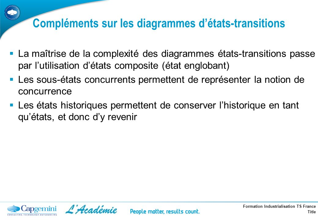 Compléments sur les diagrammes d'états-transitions
