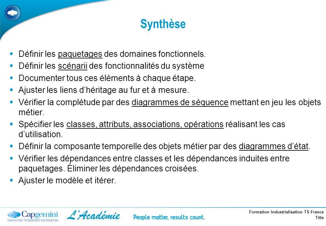 Synthèse Définir les paquetages des domaines fonctionnels.
