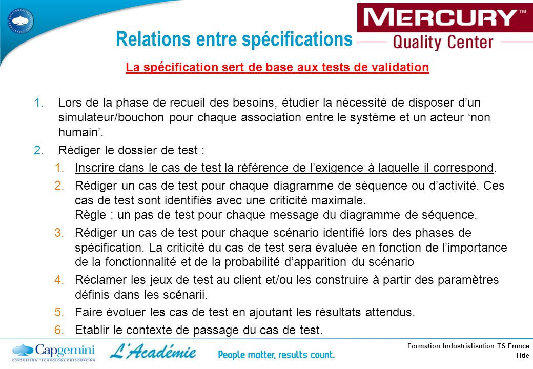 Relations entre spécifications et tests