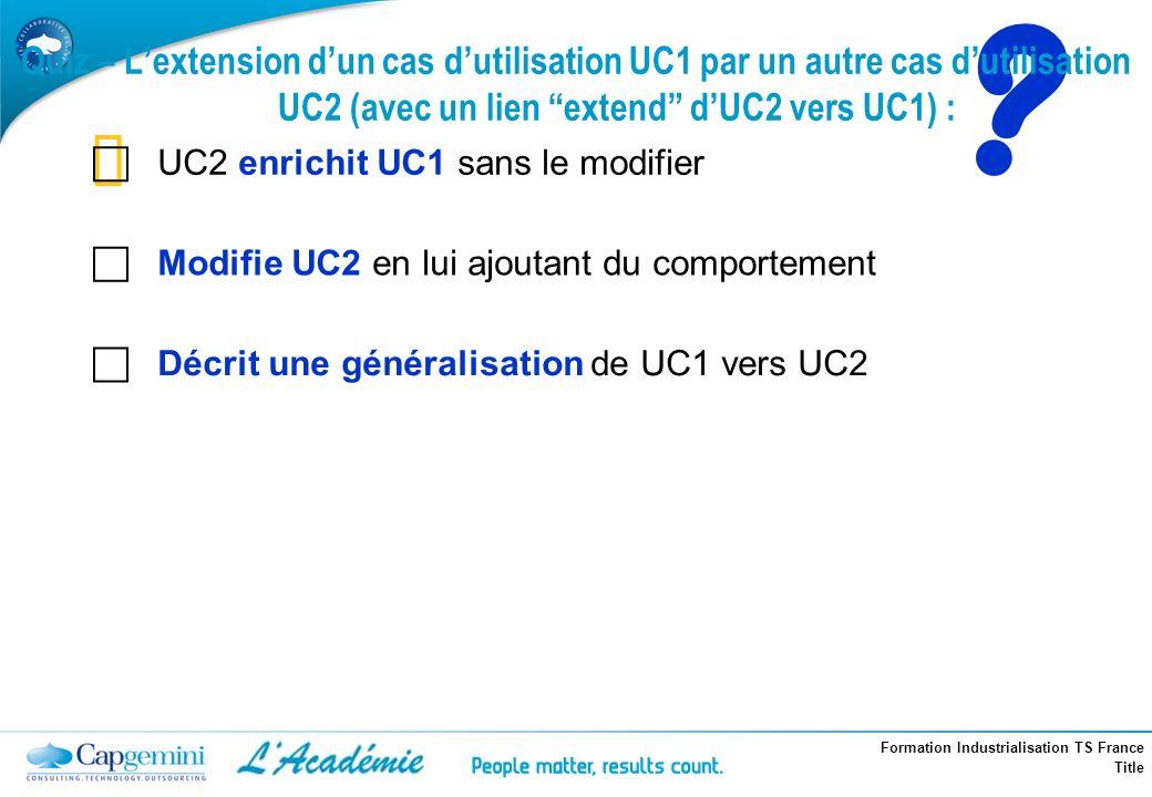 Quiz – L'extension d'un cas d'utilisation UC1 par un autre cas d'utilisation UC2 (avec un lien extend d'UC2 vers UC1) :