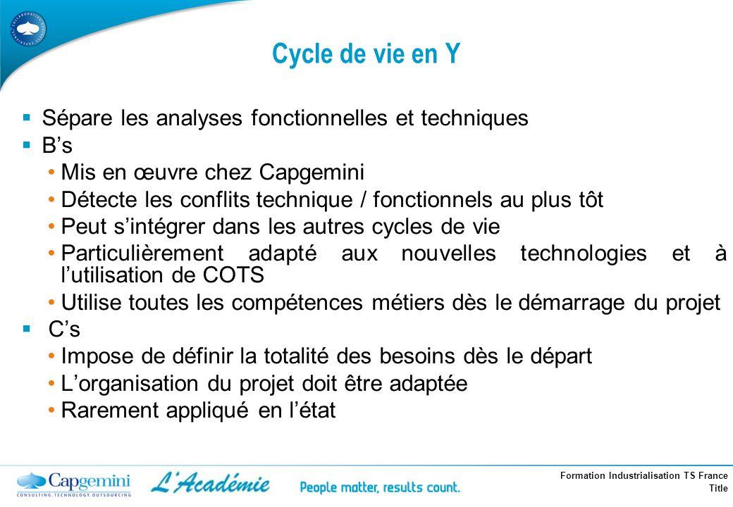 Cycle de vie en Y Sépare les analyses fonctionnelles et techniques B's