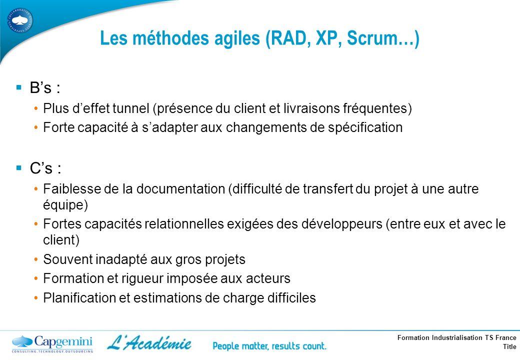 Les méthodes agiles (RAD, XP, Scrum…)