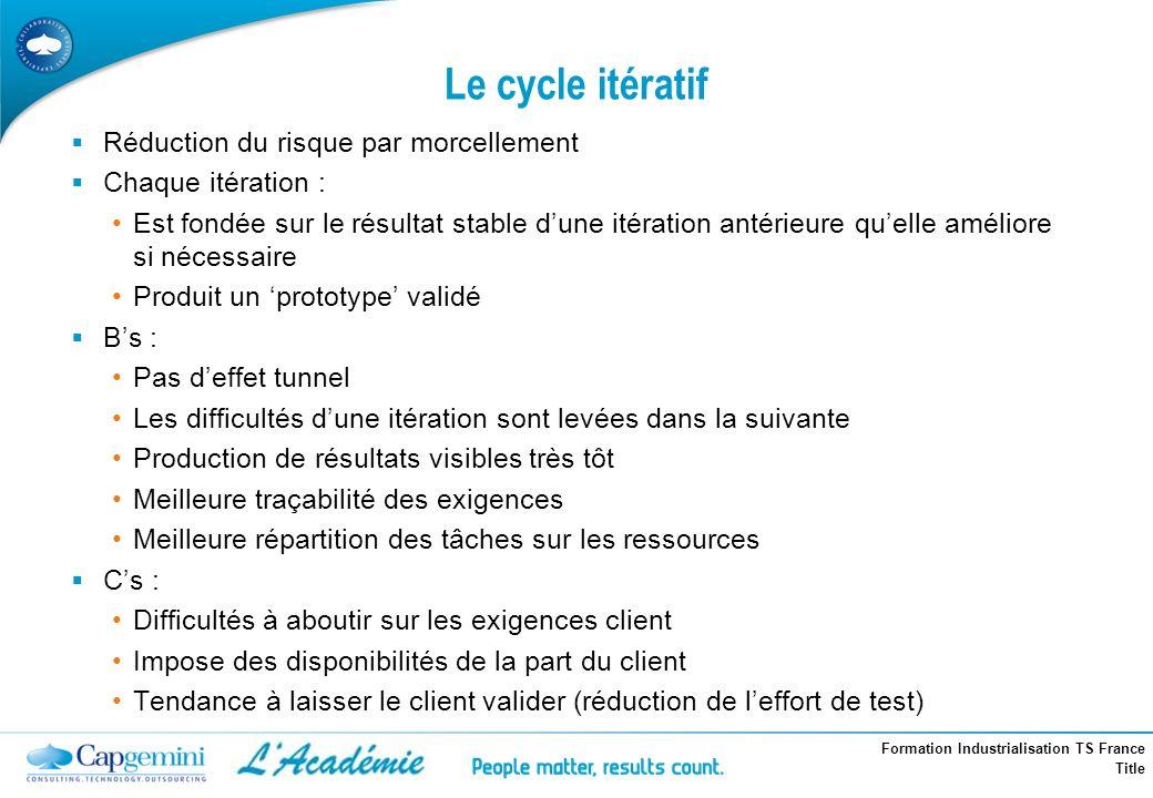 Le cycle itératif Réduction du risque par morcellement