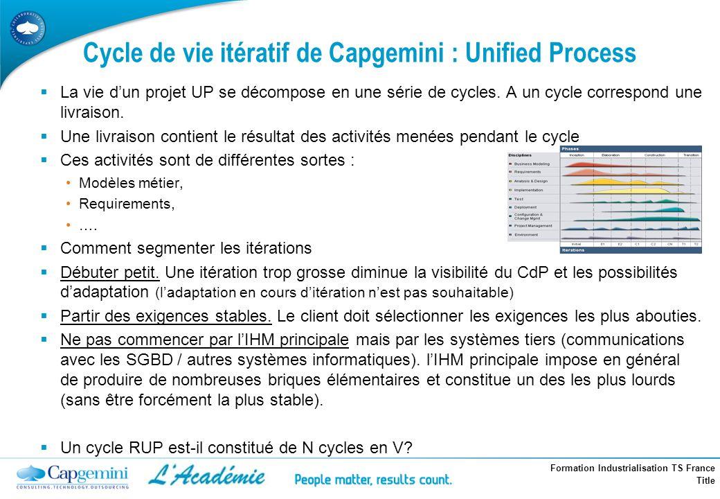 Cycle de vie itératif de Capgemini : Unified Process