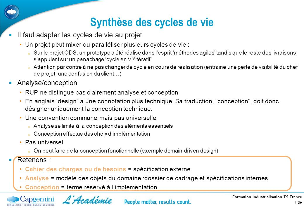 Synthèse des cycles de vie