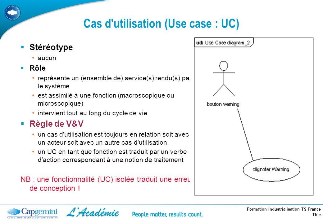 Cas d utilisation (Use case : UC)