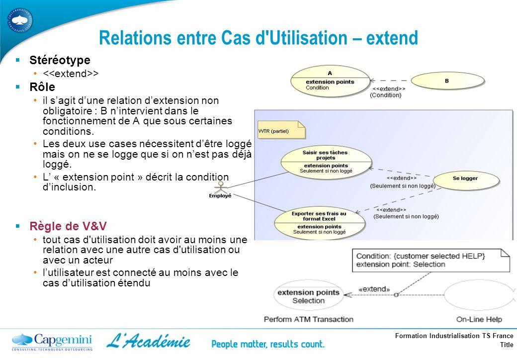 Relations entre Cas d Utilisation – extend