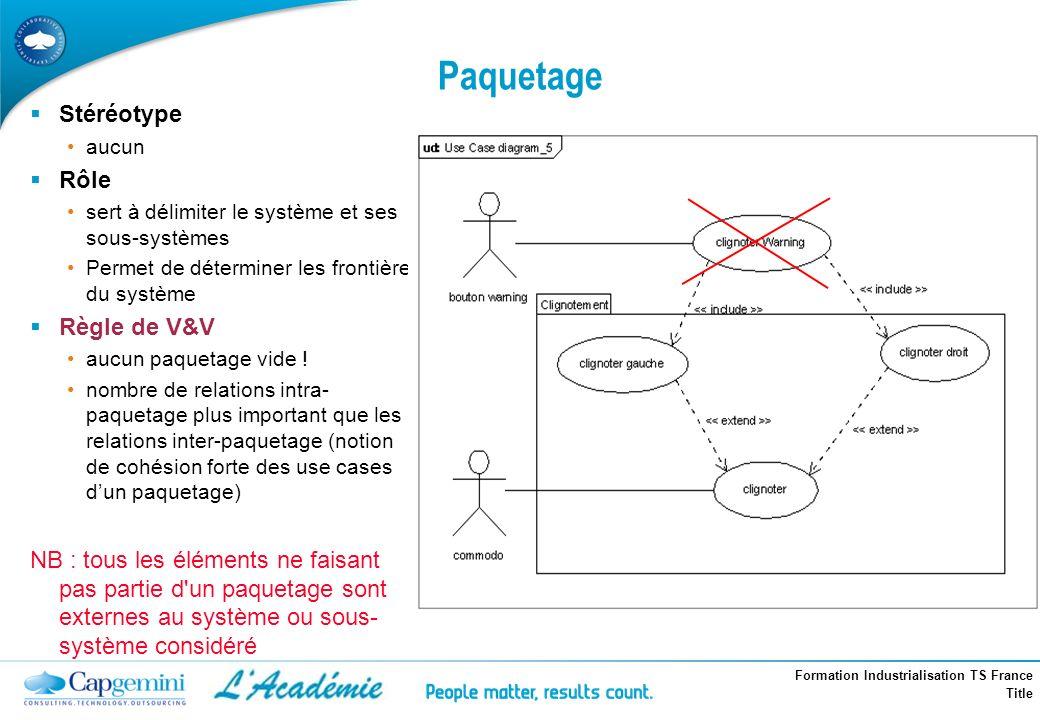 Paquetage Stéréotype Rôle Règle de V&V