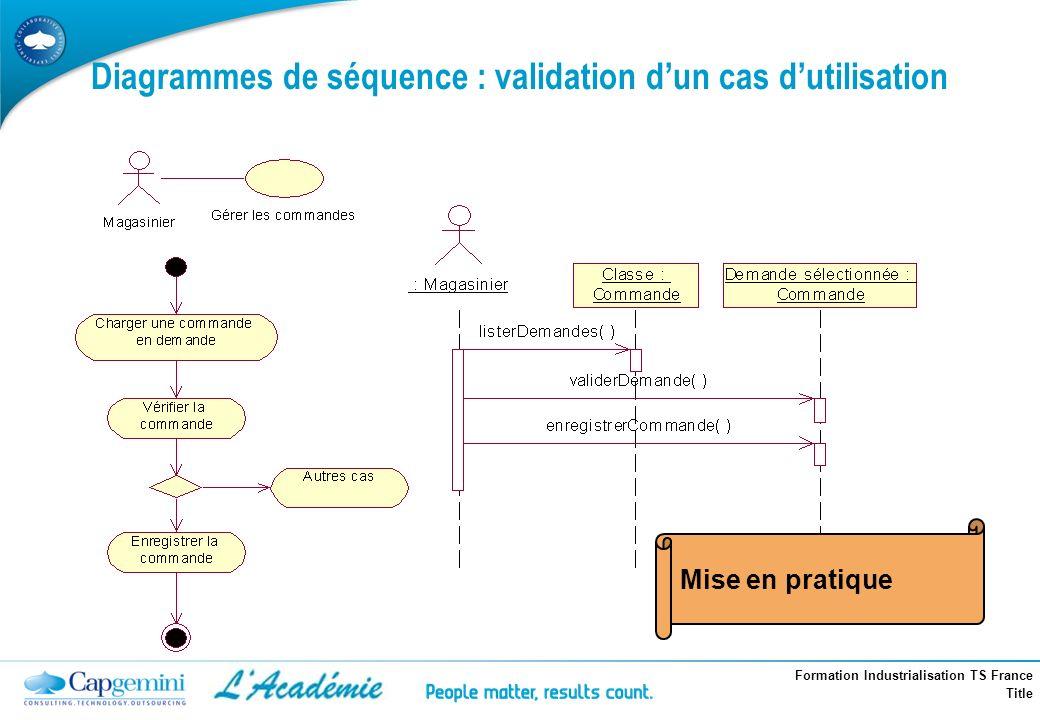 Diagrammes de séquence : validation d'un cas d'utilisation