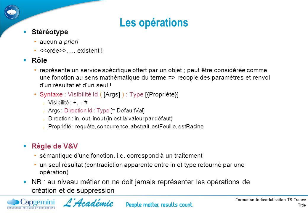 Les opérations Stéréotype Rôle Règle de V&V