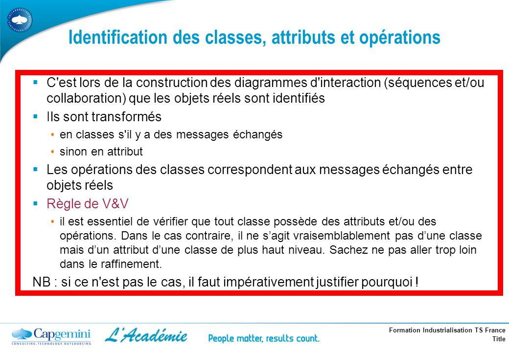 Identification des classes, attributs et opérations