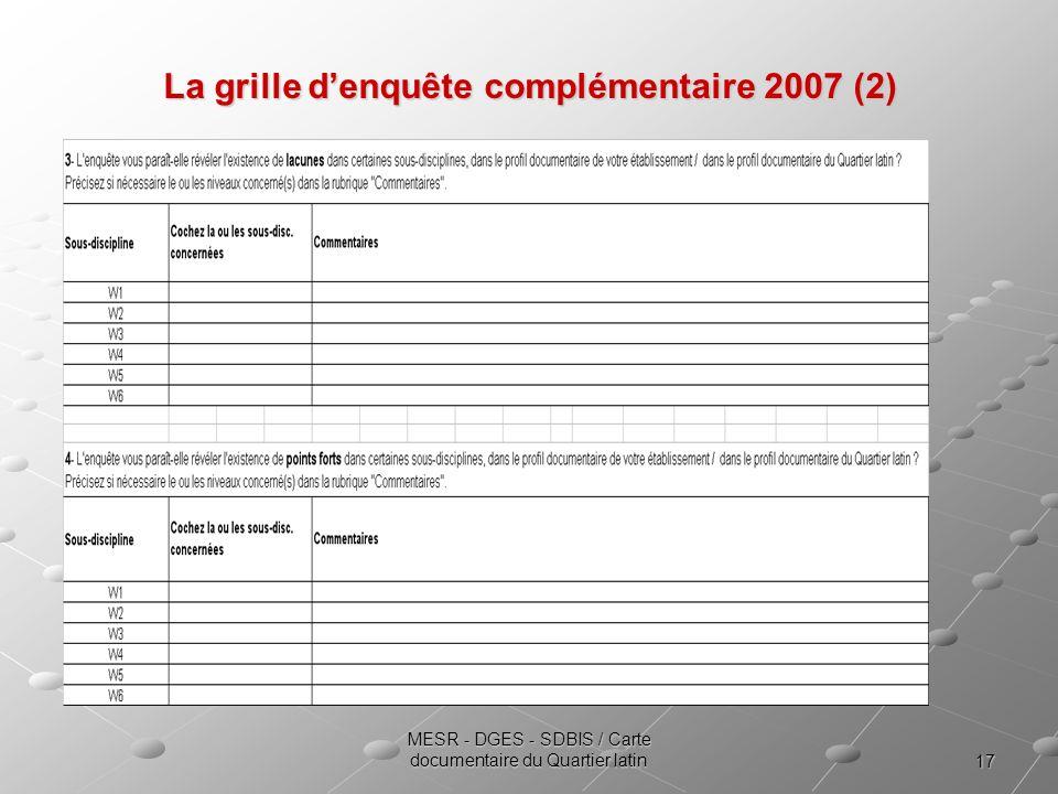 La grille d'enquête complémentaire 2007 (2)