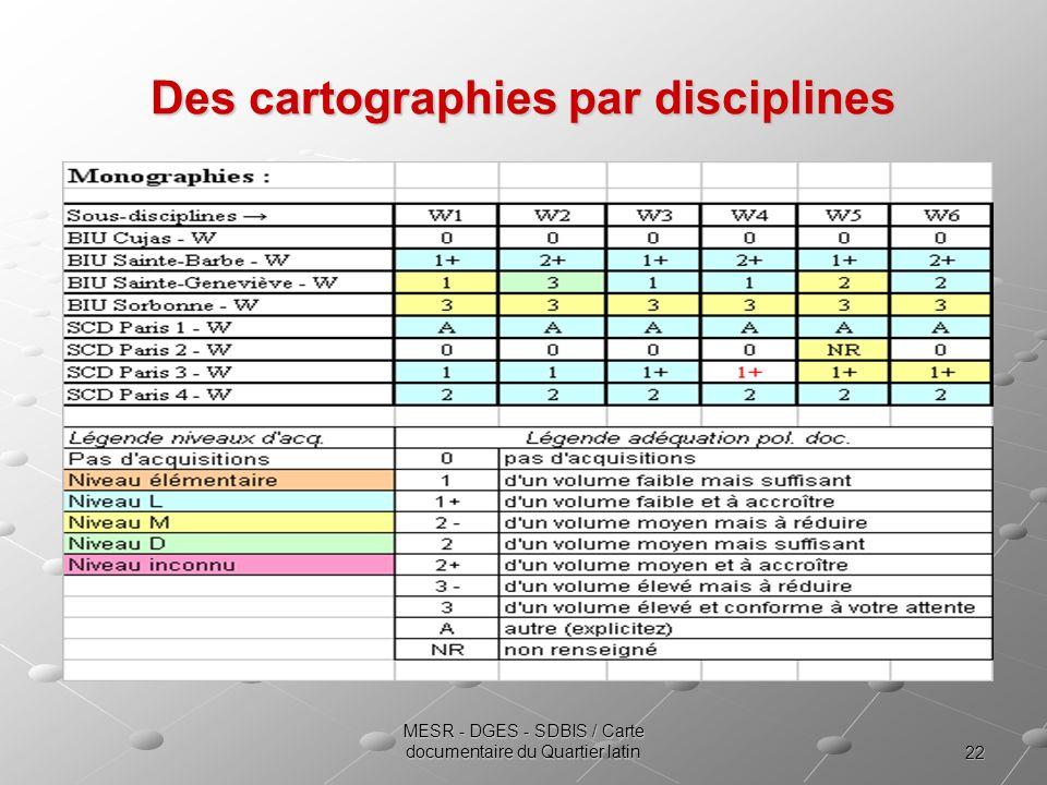Des cartographies par disciplines