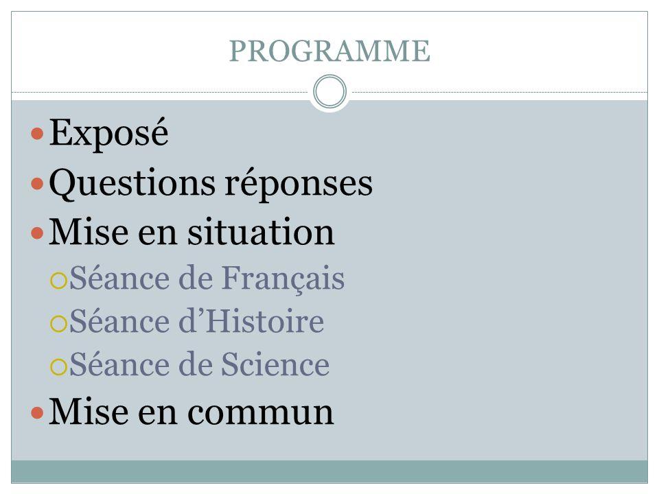 Exposé Questions réponses Mise en situation Mise en commun