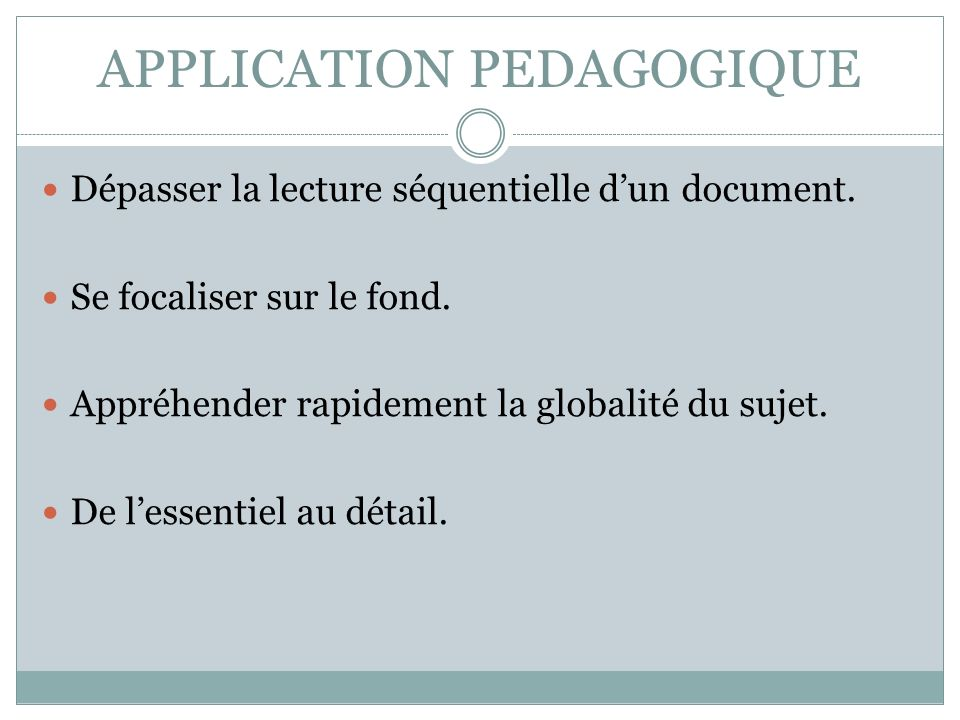 APPLICATION PEDAGOGIQUE