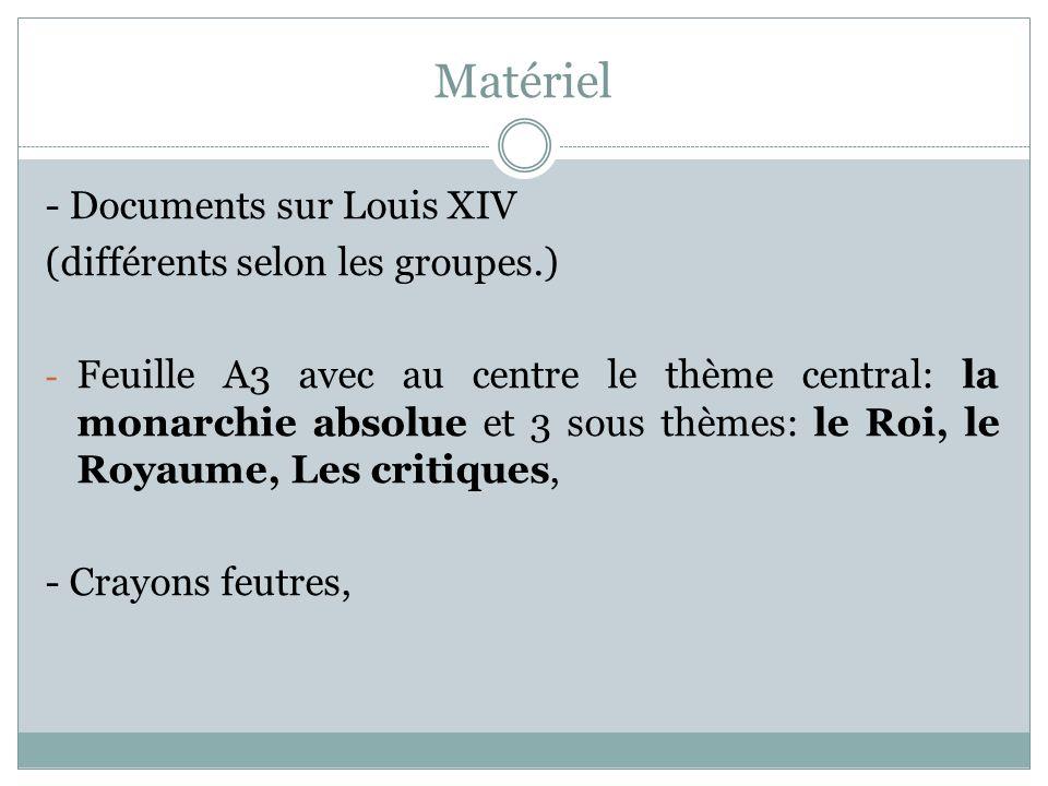 Matériel - Documents sur Louis XIV (différents selon les groupes.)