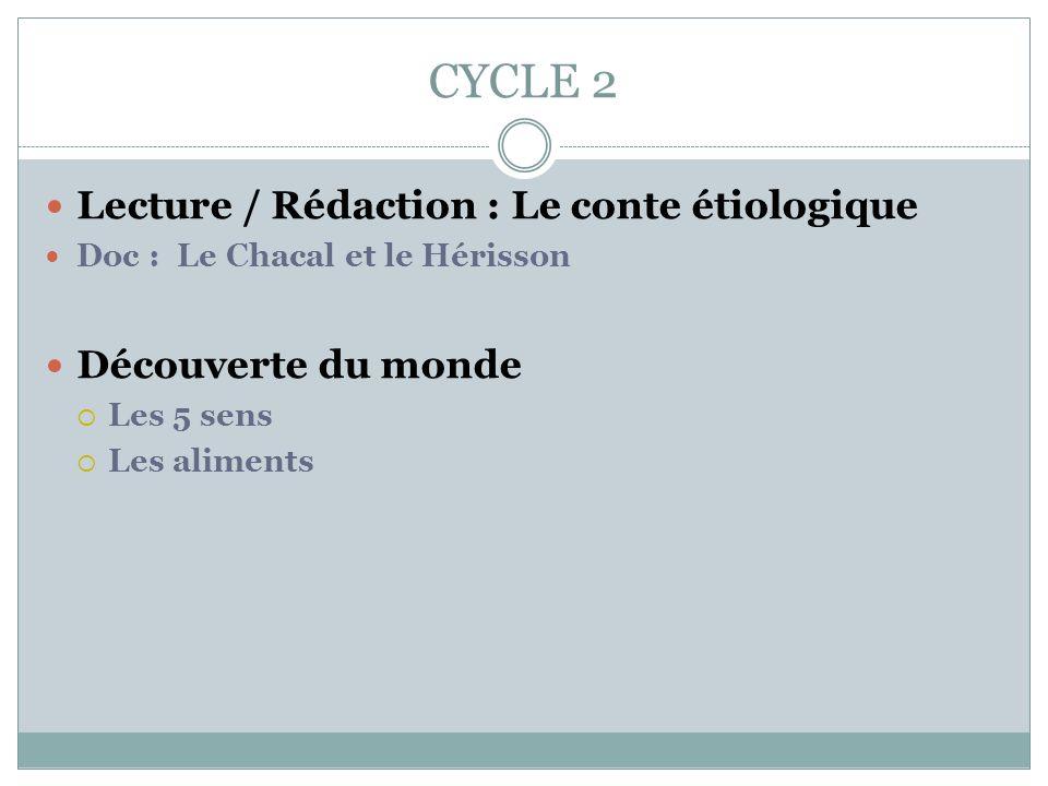 CYCLE 2 Lecture / Rédaction : Le conte étiologique Découverte du monde
