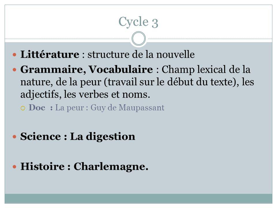 Cycle 3 Littérature : structure de la nouvelle
