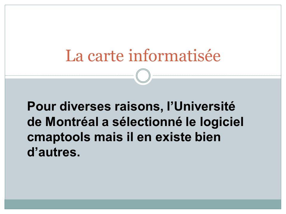 La carte informatisée Pour diverses raisons, l'Université de Montréal a sélectionné le logiciel cmaptools mais il en existe bien d'autres.