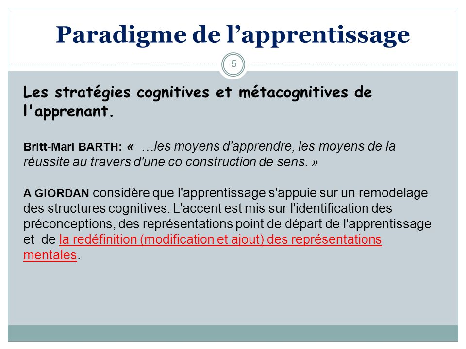 Paradigme de l'apprentissage
