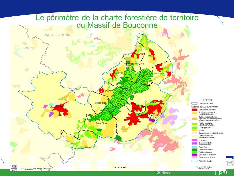 Le périmètre de la charte forestière de territoire du Massif de Bouconne