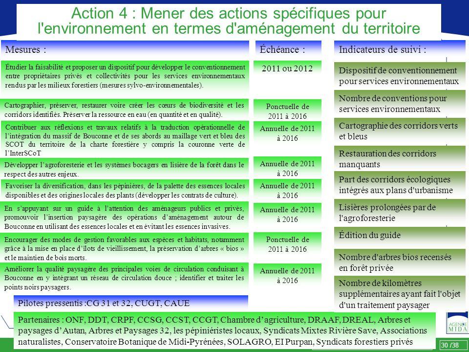 Action 4 : Mener des actions spécifiques pour l environnement en termes d aménagement du territoire