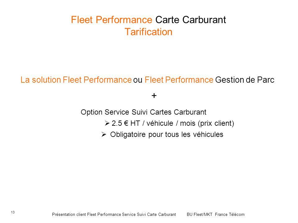 Fleet Performance Carte Carburant Tarification