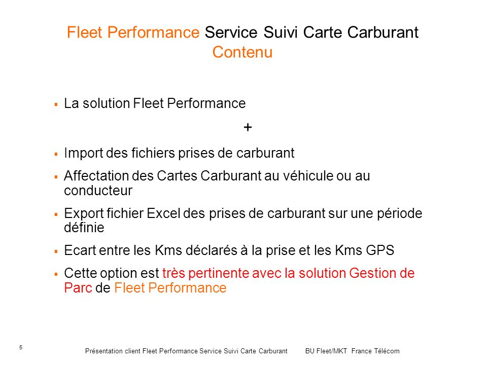 Fleet Performance Service Suivi Carte Carburant Contenu