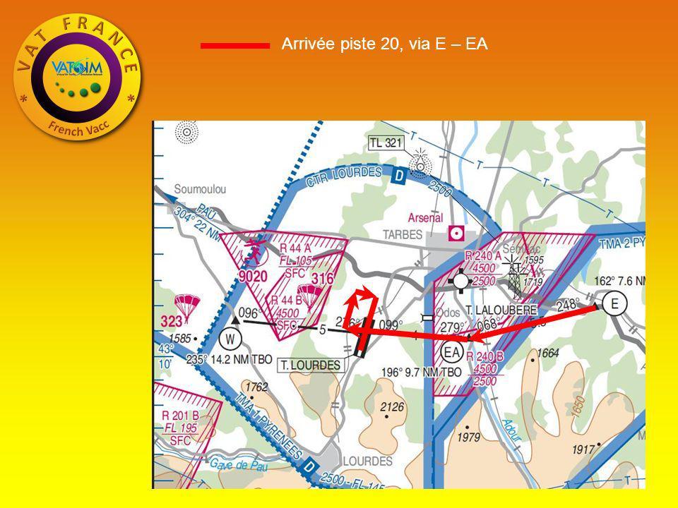 Arrivée piste 20, via E – EA
