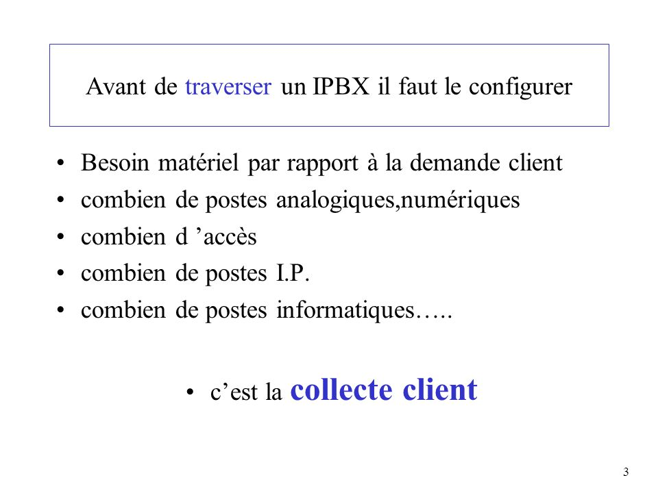 Avant de traverser un IPBX il faut le configurer