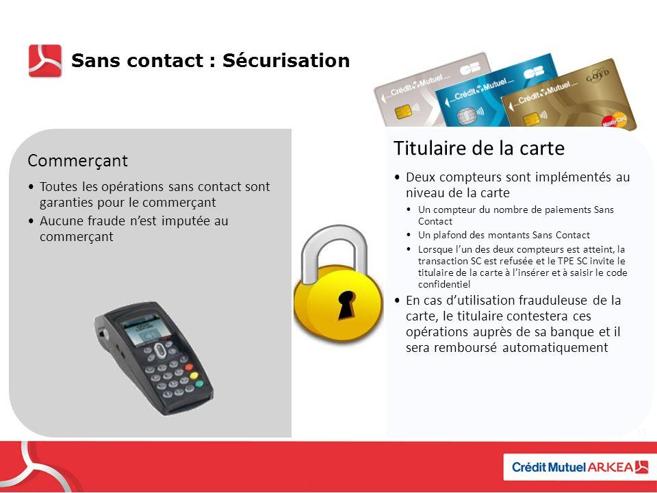 Titulaire de la carte Commerçant Sans contact : Sécurisation