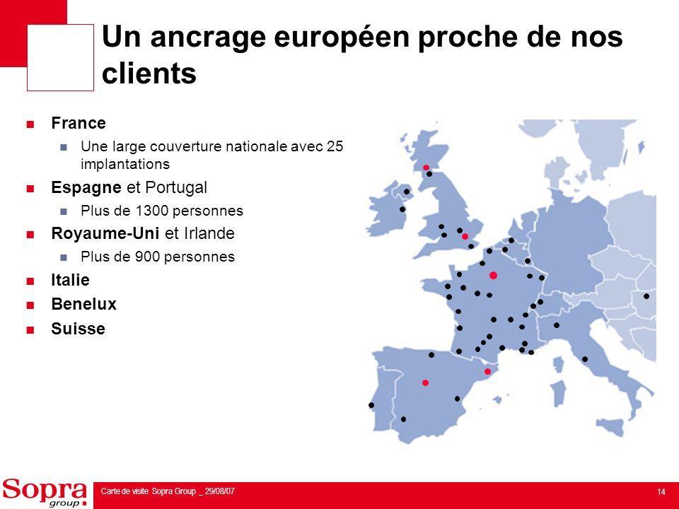Un ancrage européen proche de nos clients